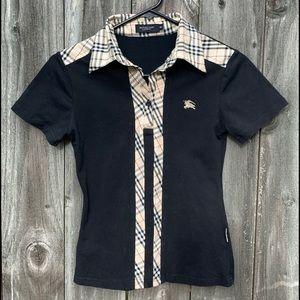 BURBERRY woman black short sleeve shirt. Size M